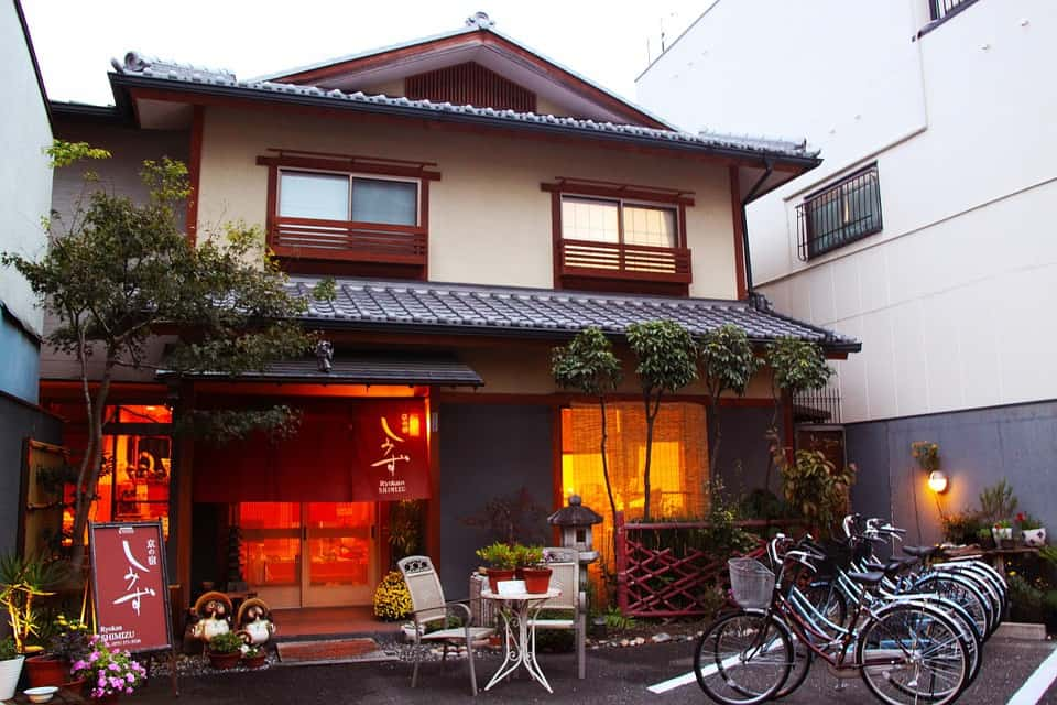 A traditional Japanese inn or ryokan